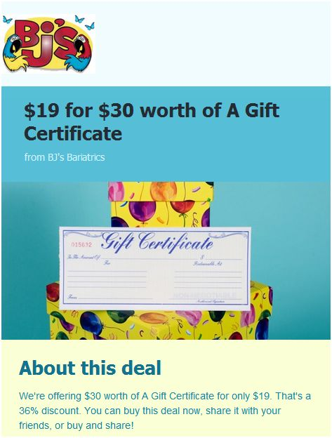 HOLY SHMOLEY:  *Awesome* deal from BJ's Bariatrics!